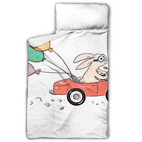Doreen DaltonKids Schlafsack Kaninchen schnell auf rotem Auto Nickerchen Matte mit Kissen für Kleinkinder Jungen und Mädchen, Klassische Schlafsack, perfekte Größe für die Tagespflege und vor