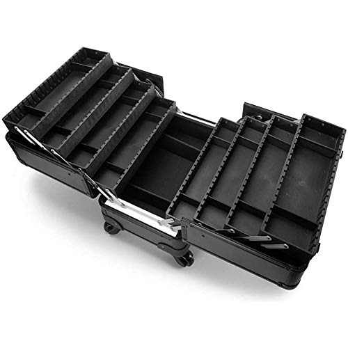 WSJTT Makeup Train Case Large Cosmetic Box 8 Tier Trays with Compartments Professional Makeup Box Jewelry Storage Organizer Case Adjustable Bottom with Shoulder Strap