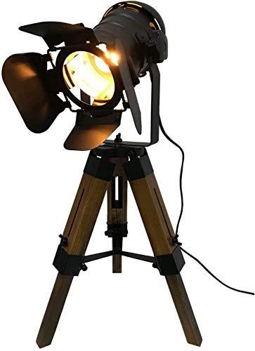 ZJJZ Lámpara de Mesa de Cine Ajustable - Negro náutico Estilo Retro Trípode Focos reflectores Lámpara de pie de trípode de Madera Accesorios para películas de Cine - No Incluye Bombillas E26