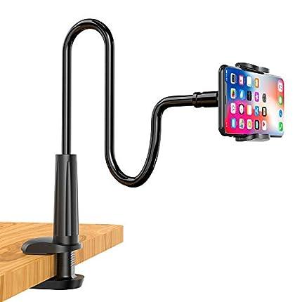 Enllonish Soporte Móvil, Universal Soporte para Teléfono con Cuello de Cisne Soporte para iPhone 11 XS MAX XR X 8 7 6 Plus 5 4, Huawei, Samsung S10 S9 Smartphone Móvil -Negro