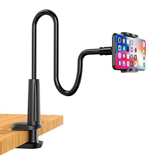 Enllonish Supporto Cellulare, Universale Collo Oca Supporto Telefono Porta per iPhone 12 Mini, 12 PRO Max, 11 PRO, XS Max XR X 8 7 6s 6, Samsung S10 S9, Altri Smartphone, Scrivania - Nero