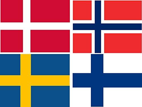 Michael & Rene Pflüger Barmstedt Aufkleber Set Fahne von Norwegen Dänemark Schweden Finnland Flaggen Sticker Autoaufkleber