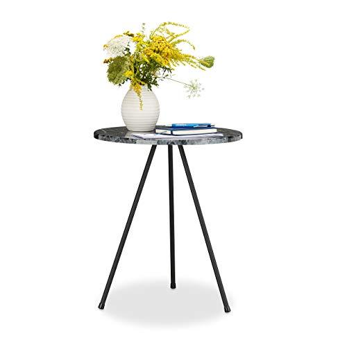 Relaxdays Beistelltisch Marmor Optik, rundes Tischchen HxBxT: 47 x 40 x 40 cm, Dreibeiner Kaffeetisch, marmoriert
