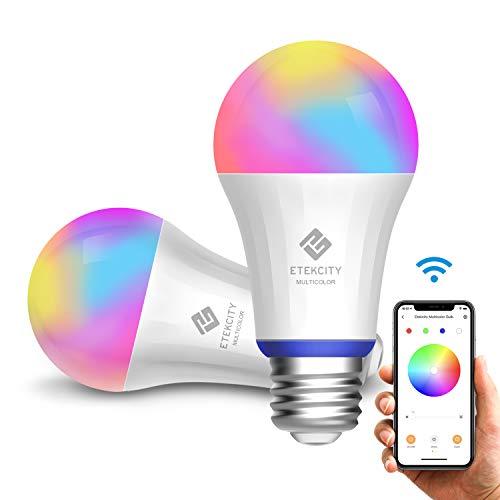 Etekcity Smart LED Lampe 2er Pack, Glühbirne WLAN Mehrfarbige Dimmbare E27 Birne 2700 Kelvin 9W 800 Lumen, über App Steuerbar, Kompatibel mit Alexa, Google Assistant und IFTTT