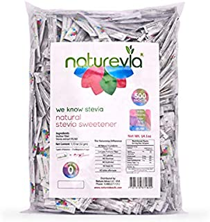 Natural Stevia Sweetener (500 Packets/ Counts) - Natural Prebiotic Fiber Inulin Promotes Digestion, Free of: Sugar, Calori...