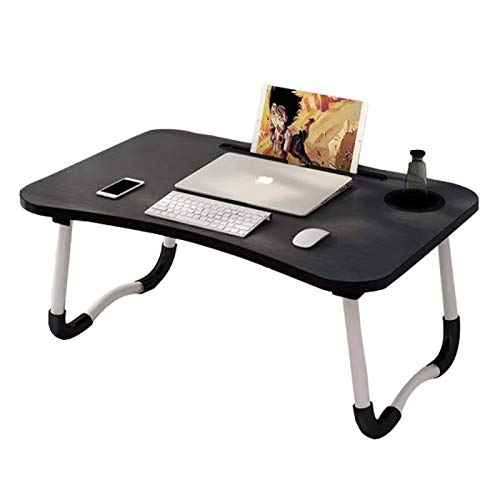 Treasure Land Foldable Laptop Desk, Bed Tray Table with Notebook Stand Reading Writing, Cup Holder