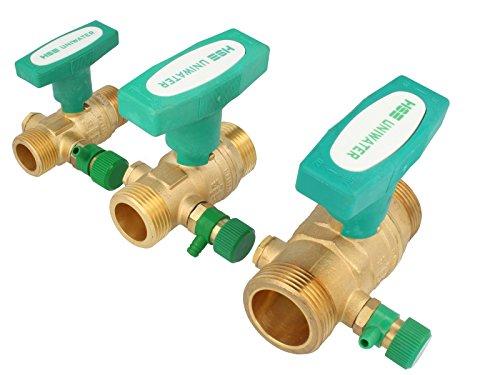 UNIWATER 3/4 Zoll - DN 15 Trinkwasser-Kugelhahn mit Entleerung, Aussengewinde x Aussengewinde, mit ISO-T-Griff