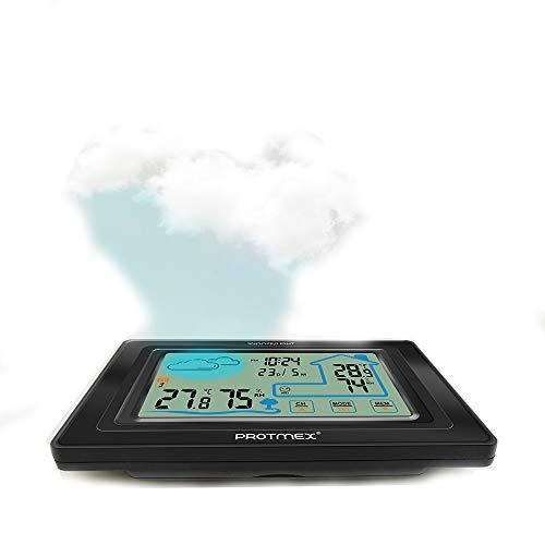 LICHUXIN Wetterstation Produkt ist schwer displaymoon Display und Schalter jeder mit Alarmdreiecksform Touch-Display-Desktop/Wandfrostpunkt ausgestattet Einbauzeit