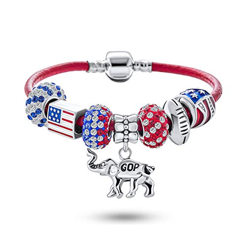 Patriotic USA Vote America Republican Symbol GOP Elephant Bead Red White Blue Starter Beads Multi Charm Bracelet Genuine Red Leather For Women .925 Sterling Silver European Barrel Snap Clasp