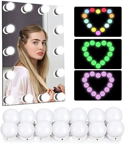 Led Spiegelleuchte, Hollywood Stil 14 Dimmbar Schminklicht RGB Make Up Licht, Schminktisch Leuchte, Schminkleuchte, Spiegellampe für Kosmetikspiegel, Schminktisch/Badzimmer Spiegel