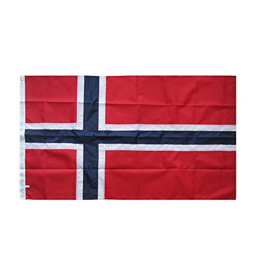 Lixure Norwegen Flagge/Fahne Top Qualität für Windige Tage 150 x 90 cm Stickerei-Flagge Durable 210D Nylon Draußen/Drinnenr Dekoration Flagge MEHRWEG