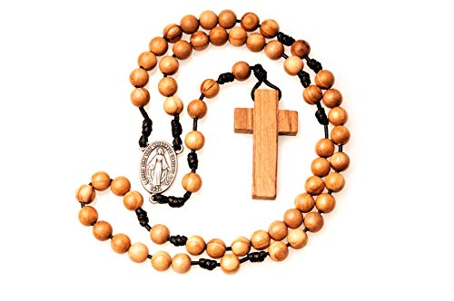 Rosario católico de madera de olivo hecho a mano en Francia con medalla milagrosa.