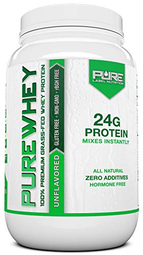 Pure Label Nutrition Whey Protein Concentrate, 100% Natural Grass Fed Unflavored Protein Powder, Gluten-Free, Low Carbs with No Added Sugar, 2 lb