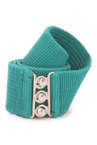MalcoModes Luxury Vintage Elastic Cotton Covered Cinch Stretch Belt with Metal Hook and Eye Clasp Buckle (Turquoise, Small)