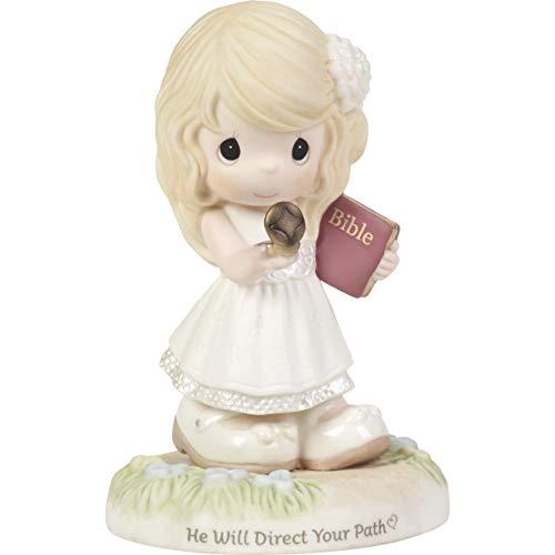 "Precious Moments Estatueta de porcelana bisque segurando a bússola 192002 ""He Will Direct Your Path"", multi"