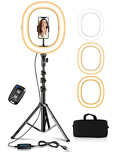 """STOON 12"""" Foldable Ring Light with Stand and Phone Holder, LED Dimmable Ring Light with Carry Bag for Live Stream/Makeup/YouTube Video/Photography, Shooting with 3 Light Modes & 10 Brightness Level"""