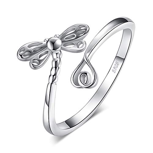 JewelryPalace Libellula di Sogno con Lunga Coda Amore Shank Regolabile Anello Aperto in Argento Sterling 925 (Anello Regolabile)