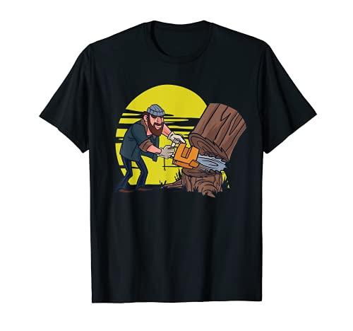 Lumberjack Tree Cutting Chainsaw Nature Log Man T-Shirt