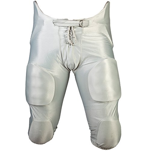 Cramer Football Game Pants, 7 Pads with Hip, Tailbone, Thigh, and Knee Pads, Youth Football Gear, High-Rise Hip Padding for Iliac Crest Protection, Designed for High-Impact, Silver Gray, Youth Small