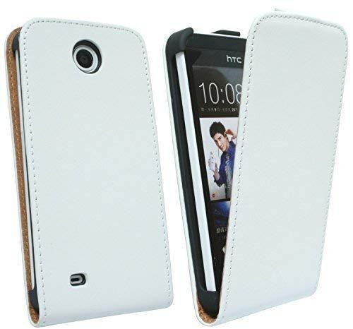 ENERGMiX Handytasche Flip Style kompatibel mit HTC Desire 300 in Weiß Klapptasche Hülle