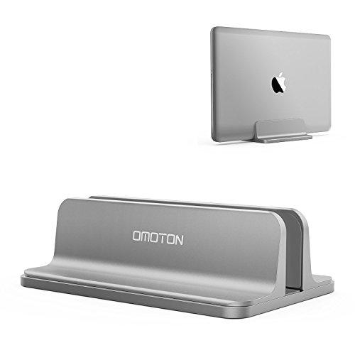 OMOTON Vertikalen Laptop Ständer, Aluminium Platzsparender Ständer für alle Handys und Notebooks - Verstellbarer Stand für MacBook, MacBook Air, MacBook Pro, Ultrabook, Lenovo und andere, grau