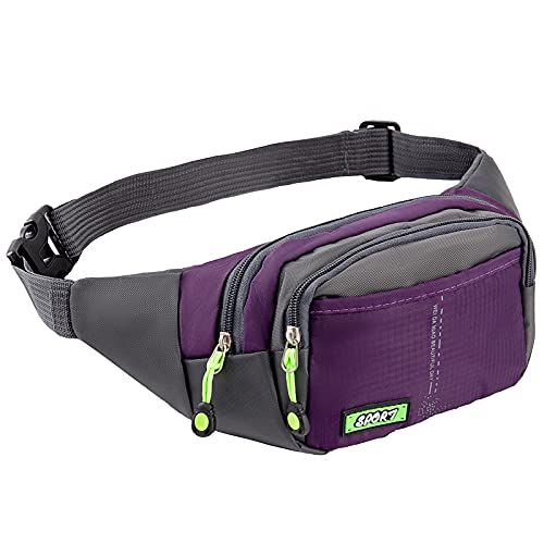 UPTARD Waterproof Fanny Pack for Women Men – Crossbody Waist Bag with 4 Zipper Pockets – Adjustable Strap Fanny Bag for Hiking, Riding, Traveling, Running – Waist Pack Phone Pouch – Black Fanny Pack(Purple)