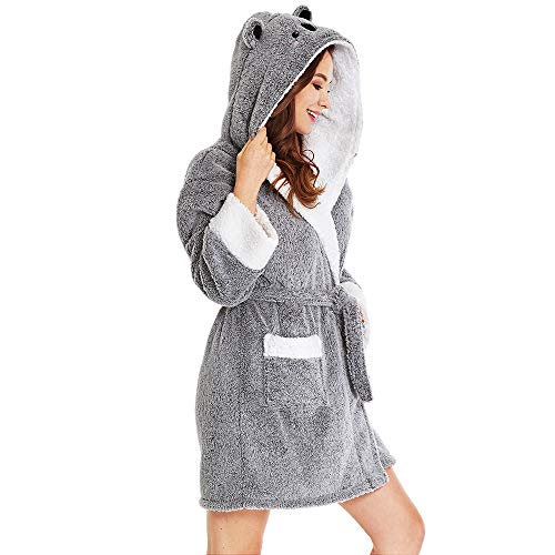 TIMSOPHIA Plüsch-Bademäntel für Damen mit Kapuze, weiche Tier-Bademäntel, gemütlich, warm, Koala-Geschenke - Grau - Small