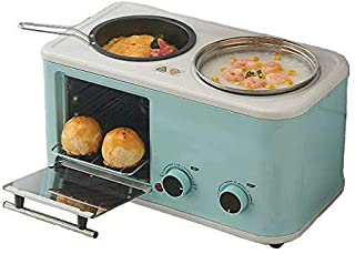 L.TSA Cocina Eléctrica Máquina de Desayuno 3 en 1 para el hogar Mini tostadora de Pan Horno para Hornear Tortilla Sartén Olla Caliente Caldera Vaporera, Rosa