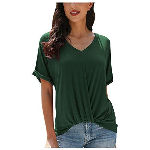 CLOOM Camicetta Donna, Camicetta Elegante Tunica Bottone Camicia Scollo A Barca Maglietta Ragazza Maglia Taglie Forti Magliette Estive Blusa Moda Tops Basic T Shirt Tinta Unita(Cachi,XXL)