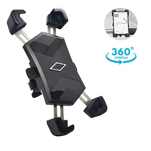 Review Bike Phone Mount, ONE-SECOND Lock, 360°Rotation Adjustable Handlebar Motorcycle Phone Holder...