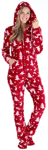 SleepytimePJs Women's Fleece Hooded Footed Onesie Pajama, Cranberry Deer