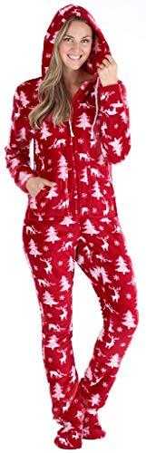 SleepytimePJs Women's Fleece Hooded Footed Onesie Pajama, Cranberry Deer, MED