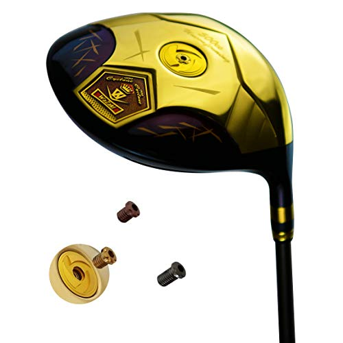 wazaki Japan 14K Gold Finish Cyclone III High COR Close Face Draw Titanium Driver Golf Club+Headcover (11.5 Degree Loft,Regular Flex,50g Light Graphite Shaft,Right Handed,500cc onbevestigbare grootte)