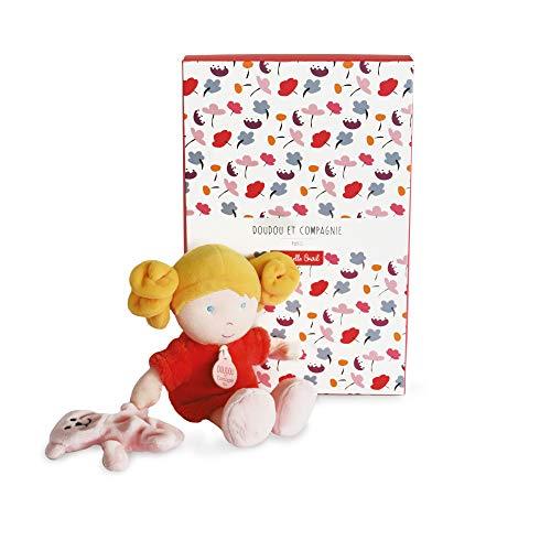 Doudou et Compagnie DC3683 - Bambola in panno per neonati, 23 cm, fragola, graziosa scatola regalo, motivo: piccola demeselle