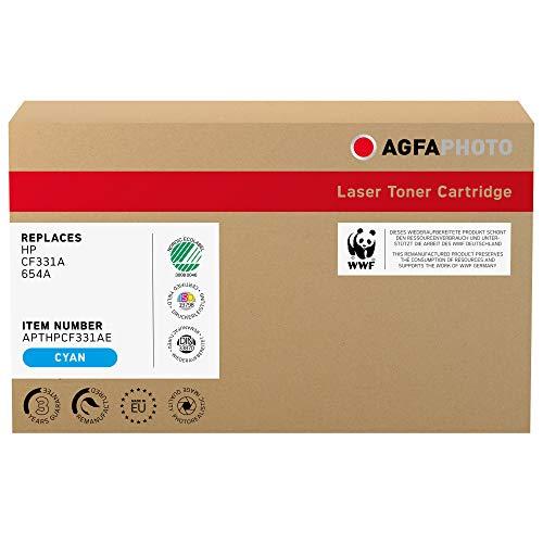 AgfaPhoto Laser Toner ersetzt HP CF331A; 654A, 15000 Seiten, Cyan-blau (für die Nutzung in HP CLJ Enterprise M651)