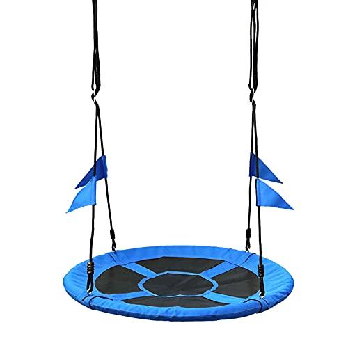 GUOGUODA Columpio de jardín,Columpio Nido Cuerda Ajustable de 120-180cm Columpio Redondo de Niños para Interior y Exterior Jardín Parque Carga hasta 150kg