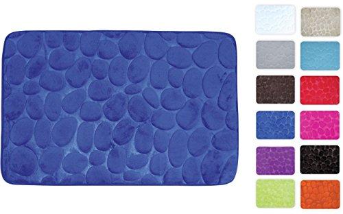 MSV Badteppich Badvorleger Duschvorleger Kieselstein Badematte waschbar, schnelltrocknend, rutschfest 40x60 cm – Blau
