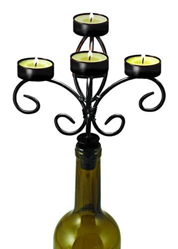 Boulevard Wine Bottle Candelabra, Black