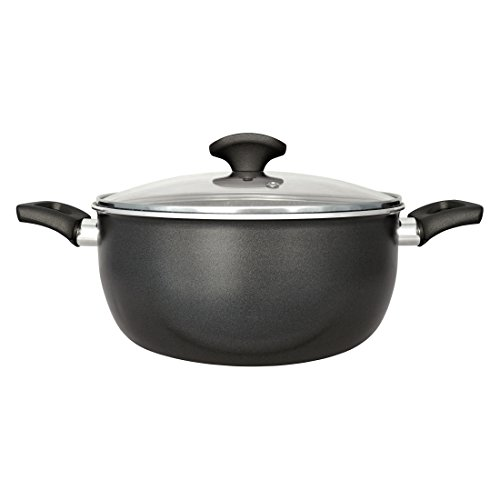 San Ignacio Gourmet-Cacerola De 24 Cms. con Tapa De Vidrio, Aluminio, Gris Oscuro, 24 cm