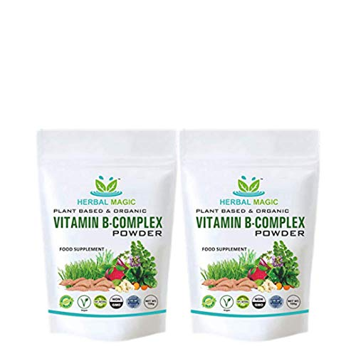 Herbal Magic's Pesticide Free Vitamin B Complex Powder - B1+ B2+ B3+ B12+ Folic Acid Vegan Fruit & Vegetables Pure Mix - Immunity Hair & Skin Vitamins Minerals