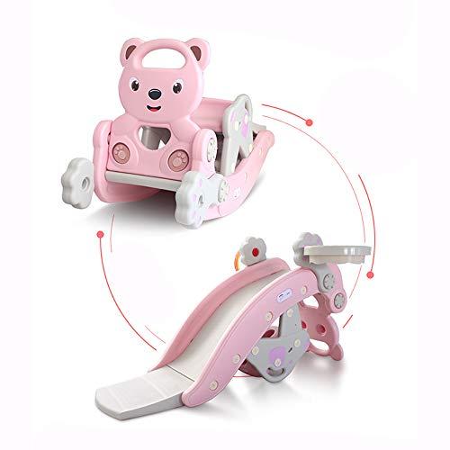 Toboganes para niños, 3 en 1 tobogán de caballo mecedora combinación interior para niños con música Baby Trojan Rocking Car Toy multifunción interior hogar bebé juegos infantiles juguetes,Rosado