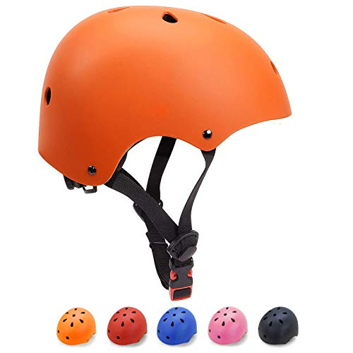 KORIMEFA Casco Bicicleta para Niños Casco Infantil Ajustable para Monopatín Patinaje BMX Esquiar, Casco para multibles Deportes niño niña de Edad de 3-13 años (Naranja, M)