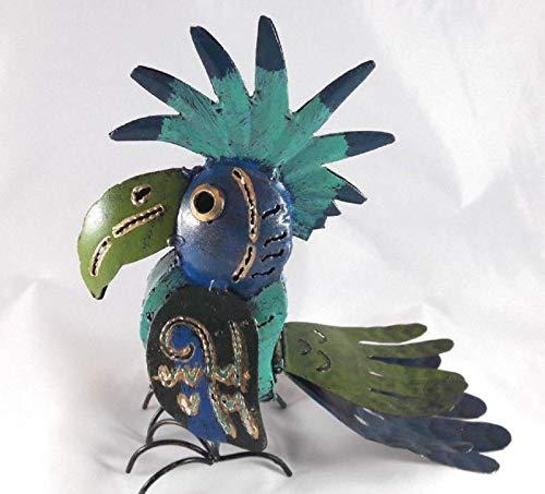 Trendshop-online Kakadu Papagei Dekofigur aus Metall Tukan Gartenfigur Garten Skulptur Deko Lustig Draußen Kantenhocker