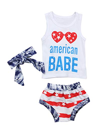 Ritatte American Dude & Baby, Toddler Girls Boys Stars Striped Tops Vest Shorts 4th of July Outfits...