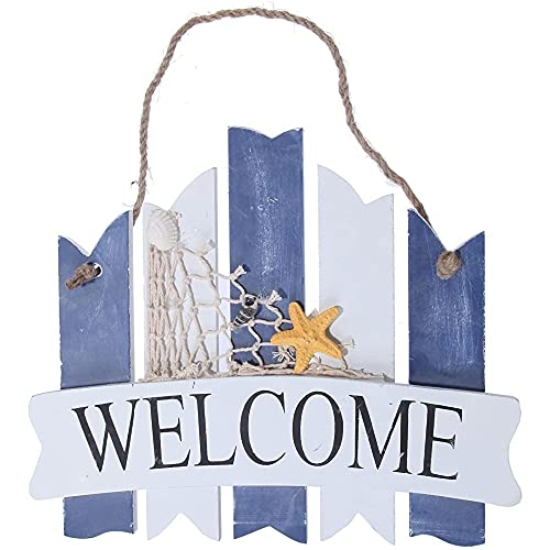 Juvale Welcome Sign Board - Home Inside Outside Decoration Beach Greeting Ocean Sea Net Star Fish 10' - Indoor/Outdoor Home/Oceanside/Sea & Shore Decor- Rope, Seashell, Starfish, Beach Theme