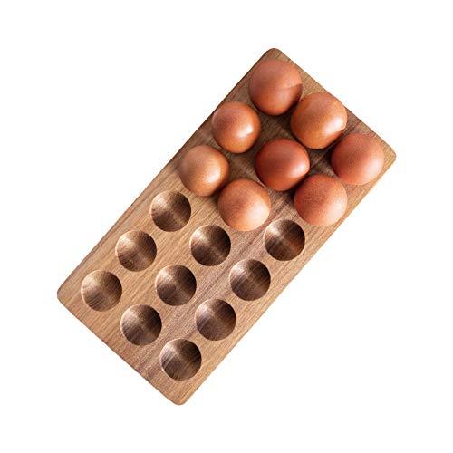 Wooden Egg Holder by ILLATO - Premium Acacia Wood Egg Tray | 18 Holes Egg Plate | Freezer, Tabletop Display or Refrigerator Storage, Deviled Egg Tray, Egg Holder Countertop, Wooden Egg Skelter