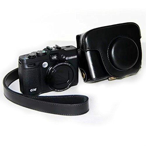 Borsa imitazione in pelle ,PU Copertura in pelle per Canon PowerShot G15 G16 nero