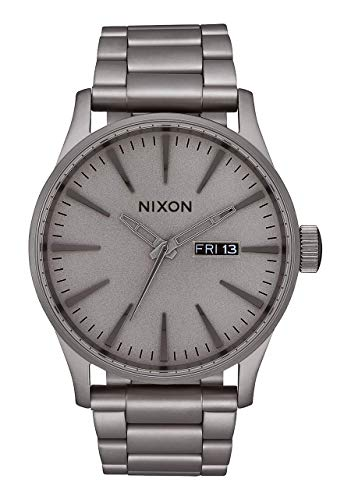 NIXON Sentry SS A376 - Dark Steel - 120m Water Resistant Men's Analog Classic Watch (42mm Watch Face, 23mm-20mm Stainless Steel Band)