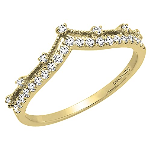 Dazzlingrock Collection 0.25 Carat (ctw) Round White Diamond Ladies Enhancer Guard Double Chevron V Shaped Stylish Matching Wedding Band 1/4 CT, 10K Yellow Gold, Size 7