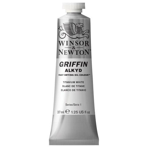 Winsor & Newton 1914644 Griffin Alkyd schnell trocknende Ölfarbe 37ml Tube, hergestellt aus hochwertigen Pigmenten, Lichtecht - Titanweiss